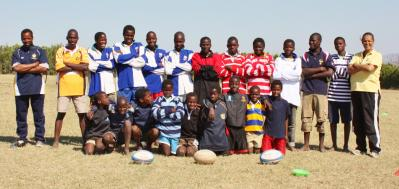 Mhlagatane Community players with their LV SOSKITAID rugby jerseys