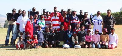 Ngwazini Community players with their LV SOSKITAID rugby jerseys