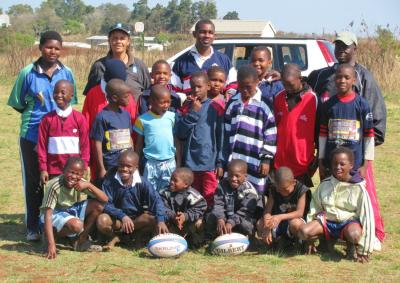 The Siteki Community players with their rugby kit donated by the LV SOSKITAID Programme