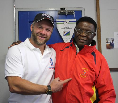 Ollie Phillips with Director of Sport Sipho Magagula