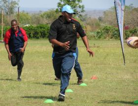Rugby Union Vice President, Sibusiso Nkambule in action